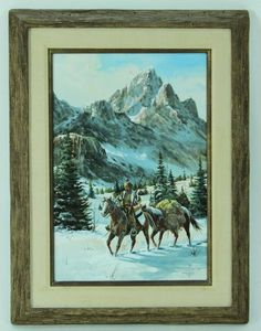 Western Painting Crossing The Pass. Oil on Panel