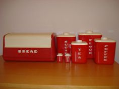 Vintage 1950's Lustroware Red White Set Breadbox Salt Pepper Retro Kitchen