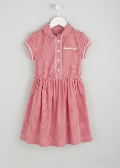 Girls red gingham school dress with centre front buttons and pocket. Comes  with matching scrunchie 2d04e95521