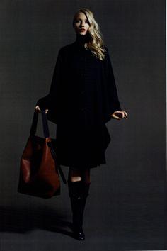 AGNONA   AGNONA Collezione QUATTRO_ #agnona black #double #cashmere #cape and high #boots with cuts spotted on @madamemagazin