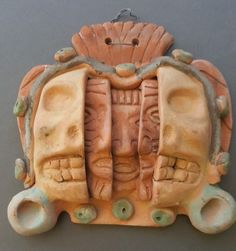 Mexican Aztec Mask with Three Faces Ages of Man Terracotta Pottery Wall Hanging