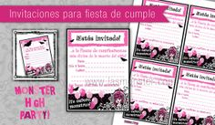 Invitaciones imprimibles para fiesta Monster High