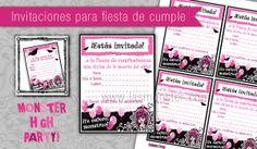 Invitaciones imprimibles para fiesta Monster High