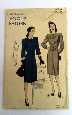 Vintage 1940s Dress VOGUE Sewing Pattern 5040 Bust 34 Hip 37 skirt sleeves 40s | eBay