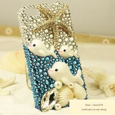 Dolphin and Starfish DIY Phone Case Deco Den Kit & Free iPhone Case
