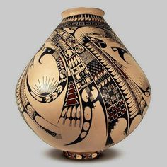 """Ana Trillo """"Paquime Pottery"""" Hand molded and painted on clay Approx. x Mata Ortiz, Chihuahua, México Ceramic Clay, Ceramic Pottery, Pottery Art, Native American Pottery, Native American Art, Southwest Pottery, Southwest Art, Pueblo Pottery, Keramik Vase"""