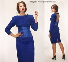 Vtg 80's Leather Suede Corseted Peplum Body-con Backless Dress Holiday Blue SZ 8 #Vakko