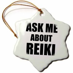 3dRose Ask me about Reiki - advertise your Reiki healing work - job advert self-promotion advertising, Snowflake Ornament, Porcelain, 3-inch, Gold