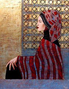 Female portrait, Painting by Richard Burlet