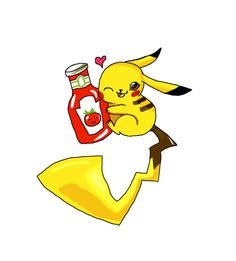 How come Pikachu is holding a Ketchup Bottle?