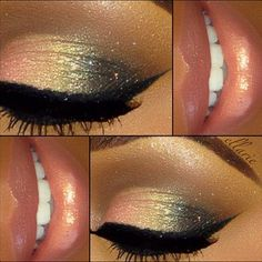 Dark gray, gold, and peach sparkly eye shadow, black eye liner, and shimmery pinkish peach lips.