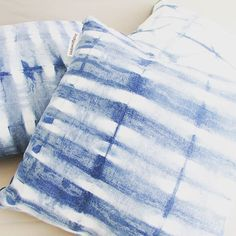 love the effect of the indigo on these linen stripes #indigowares #indigo #shibori #itajime #craftsposure #denimblue #linen #meetthemaker #makersbiz #pillows #cushions #stripes #creative #textiles #pattern #stayathomemom #mompreneur #renaechristine #blueloverlisareddings
