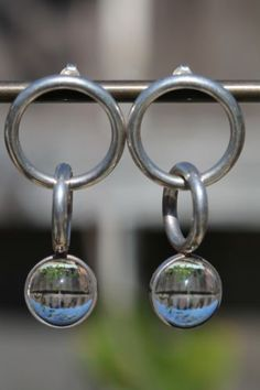 Vintage 925 Sterling Silver Modernistic Pools of Light Pierced Hoop Earrings   eBay