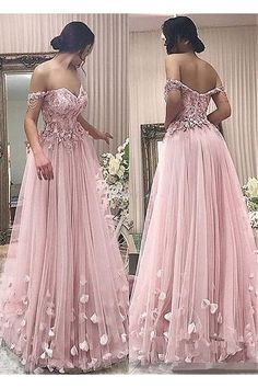 Wedding Dresses Ball Gown, Unique Tulle Off-the-shoulder Neckline A-line Prom Dress With Beaded Lace Appliques & Handmade Flowers DressilyMe A Line Prom Dresses, Sexy Wedding Dresses, Cheap Wedding Dress, Formal Evening Dresses, Ball Dresses, Ball Gowns, Debut Dresses, Prom Dresses Flowers, Cheap Dress