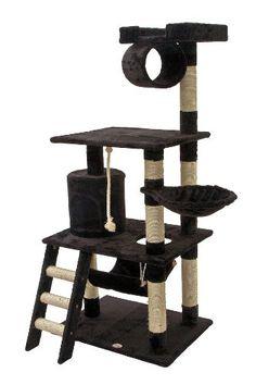 Go Pet Club Kratzbaum für Katzen, 157,48 cm, schwarz. Katzen.      Farbe: schwarz; 96,52 x 68,58 x 157,48 cm (BxLxH)     Mit Seil aus natürlichen Sisalfasern verkleidete Pfosten     Bezugsmaterial: Kunstfell; Grundmaterial: gepresstes Holz.