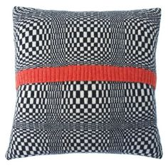 Optic Knitted Black, Cream And Red Cushion