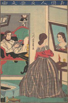 """""""Foreigners Studying at Night"""" or """"Gaikokujin yoru benkyo no zu"""" (Edo period, Utagawa Yoshikazu (Japanese, active ca. Metropolitan Museum of Art (New York)."""