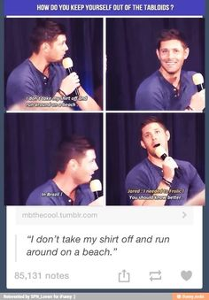 """My favorite quote ever by Jared Padalecki: """"I needed to frolic! Jensen Ackles, Jared And Jensen, Jared Padalecki, Misha Collins, Winchester Boys, Winchester Brothers, Supernatural Destiel, Super Natural, Hilarious"""