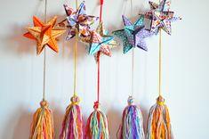 Estrellas de origami para colgar, $70 en https://ofelia.com.ar