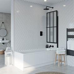 New bath shower screen tile ideas Shower Bath Combo, Shower Over Bath, Bathroom Tub Shower, Small Bathroom, Unit Bathroom, Bathroom Ideas, Family Bathroom, Bathtub Makeover, Straight Baths