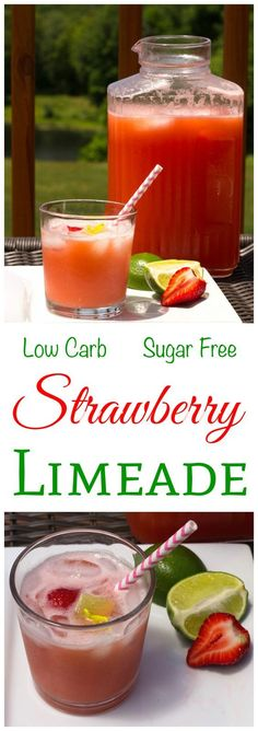 Sugar Free Strawberry Limeade Recipe – Low Carb Juice Cold drinks are a welcome treat during hot summer days. This low carb sugar free strawberry limeade is a refreshing drink to quench thirst and cool down. Low Carb Cocktails, Low Sugar Alcoholic Drinks, Cocktail Recipes, Sugar Free Drinks, Sugar Free Recipes, Sugar Free Juice, Sugar Free Treats, Diabetic Drinks, Healthy Drinks