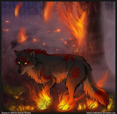 Image result for anime wolf fire