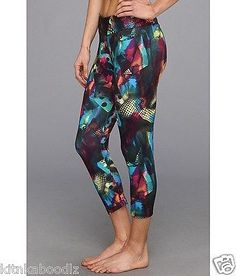 NWT Adidas AllOver Print Ultimate Fit 3/4 Tights Rainbow Women Leggings M $55 SOLD OUT. TWO MORE BACK IN STOCK.