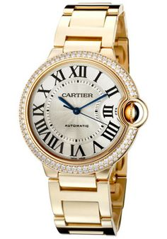 Cartier Ballon Bleu De Cartier Automatic White Diamond 18K Gold Watch. Available at London Jewelers!