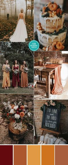 Rust Wedding Color Ideas For Cozy Fall Weddings fall wedding, wedding color autumn wedding color , autumn wedding color ideas terracotta wedding , sunset wedding color Fall Wedding Colors, Autumn Wedding, Wedding Themes, Wedding Dresses, Wedding Ideas, Burnt Orange Color, Sunset Wedding, Festival Wedding, Color Stories