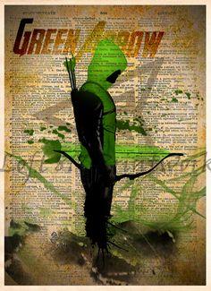 Green Arrow Vintage Silhouette print