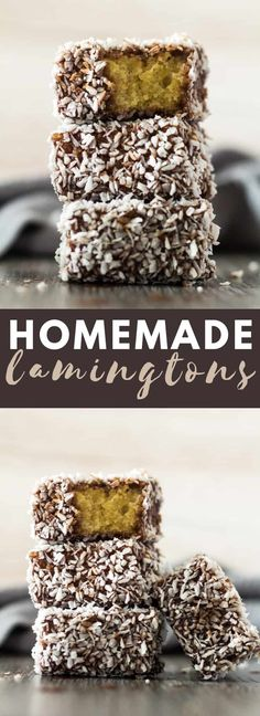 Homemade Lamingtons - Deliciously moist and fluffy squares of sponge cake coated in a layer of chocolate and rolled in desiccated coconut cake coconut lamingtons chocolate recipe