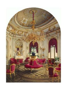 size: Giclee Print: The Stroganov Palace in Saint Petersburg, Corner Room, 1865 by Jules Mayblum : Entertainment Room Feng Shui, Feng Shui Items, Walk In, Palace Interior, Interior Design Portfolios, Dinner Room, Home Ceiling, Art Nouveau Design, Colorful Chairs