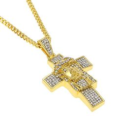 Hip hop pendant laser cut and engraved wu tang necklace fashion hip hop mens 18k gold plated titanium steel jesus head cross pendant with rhinestone cuban necklace aloadofball Images