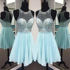 Elegant Jewel Sleeveless Short Illusion Back Mint Homecoming Dress... ($136) ❤ liked on Polyvore featuring dresses