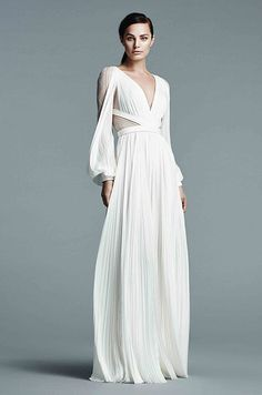 V-Neck Long Sleeve Gown with Chantilly Lace Under Layer and Slash Hand Pleated…