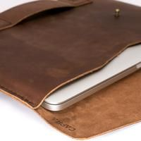 Soft interior detail. Brown Macbook Pro Touch Bar handmade leather case. Full grain leather mens sleeve. Custom folio
