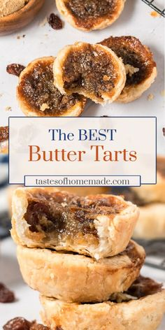 These are the best old fashioned butter tarts. Flaky pastry is loaded with raisins and a rich brown sugar and butter filling. These are the best old fashioned butter tarts. Flaky pastry is loaded with raisins and a rich brown sugar and butter filling. Butter Pecan Tarts, Best Butter Tart Recipe, Canadian Butter Tarts, Tarts Recipe, Pecan Pies, Easy Tart Recipes, Sweet Recipes, Baking Recipes, Cookie Recipes
