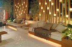 23 Stunning Patio & Outdoor Deck Lighting Ideas Which Illuminate Your Mood! - Home Decor Ideas Interior Design Examples, Best Interior Design, Outdoor Deck Lighting, Outdoor Decor, Deco Spa, Outdoor Living Furniture, Outdoor Bathrooms, House Ideas, Backyard Garden Design