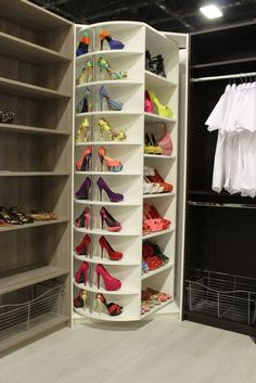 The Revolving Closet A dream closet every woman wants - The Revolving shoe rack - Our luxury closet systems bring beauty and strength together to create a closet system solution that works for you for a lifetime. Our luxury closet s Closet Walk-in, Closet Shoe Storage, Closet Space, Closet Organization, Closet Ideas, Shoe Organizer, Closet Racks, Closet Mirror, Corner Closet