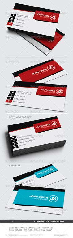 "Corporate Business Card - 18 #GraphicRiver Business card for any idustry. Features. 2.0×3.5 (2.25"" x 3.75"" with bleed) 300 DPI CMYK Print Ready! Full Editable, Layered PSD File Font used. Exo .fontsquirrel /fonts/exo Coolvetica .dafont /coolvetica.font Created: 24November13 GraphicsFilesIncluded: PhotoshopPSD Layered: Yes MinimumAdobeCSVersion: CS PrintDimensions: 2.25x3.75 Tags: beautiful #black #brand #businesscard #clean #cmyk #color #colorful #colour #colourful #corporate #creative…"
