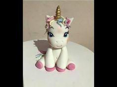 Cake Topper Tutorial, Fondant Tutorial, Easy Cake Decorating, Cake Decorating Tutorials, Baby Unicorn, Unicorn Emoji, Rainbow Unicorn, Fondant Baby, Fondant Cakes