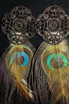Australian Peacock Feather Earrings Rustic by kismetjewelry, $15.00