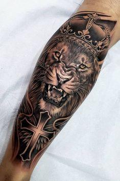 50 eye-catching lion tattoos that make you fancy ink - photography - . 50 eye-catching lion tattoos that make you fancy ink - photography - ., 50 eye-catching lion tattoos that make you want ink - photography - # flashy # Lion tattoos. Lion Leg Tattoo, Lion Forearm Tattoos, Lion Tattoo Sleeves, Lion Head Tattoos, Mens Lion Tattoo, Leg Tattoo Men, Best Sleeve Tattoos, Skull Tattoos, Animal Tattoos