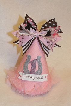 Shabby Chic Cowgirl Birthday Party Hat for Miss Marlee. First Birthday Hats, Horse Birthday, Cowgirl Birthday, Birthday Party Hats, Cowgirl Party, Barbie Birthday, Little Girl Birthday, Farm Birthday, First Birthdays