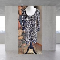 """DvF Black/Beige Mini Dress EUC DvF """" Laetitia"""" 100% Silk Black Print Tunic Mini Dress. Bought it from a posher, said it was worn 2x & size 8. I've never worn it (that's not me in the image - wanted to show on a person). I did try it on & had it dry cleaned. It's not for me so I'm selling. You can see they cut the size out but I'm usually an 8 in a DvF dress & it fit so I think it is likely an 8. Smoke free home ❌No trades, holds, or PayPal Diane von Furstenberg Dresses Mini"""