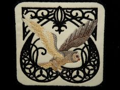 A majestic owl is framed by intricate Art Nouveau swirls on twill. This patch measures 4.34 x 4.5 (109 x 118 mm)  This patch is fully iron on with no