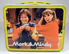 Vintage Metal Lunchbox and Thermos - 70s Robin Williams Mork and Mindy TV Series - Colorful Collectible Storage