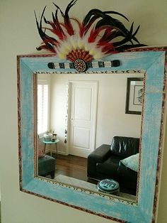 *Tribal Reflection* Hand painted & decorated old wood framed mirror with  Native-American headpiece Awesome for the little dude's room :) #BohoBoy