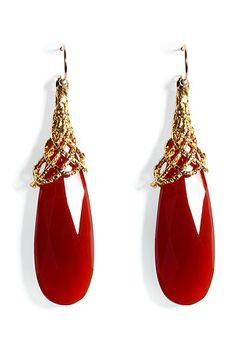 ALEXIS BITTAR   Gold-capped carnelian earrings