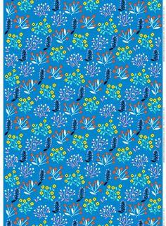 Ailakki - paksu puuvilla (sininen, keltainen, punainen) |Kankaat, Puuvillakankaat | Marimekko
